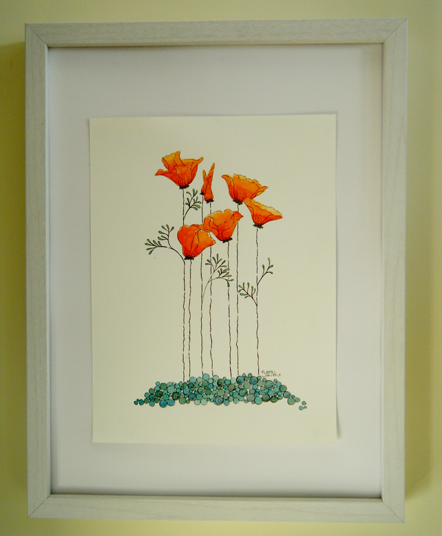 Original watercolour painting of california poppies