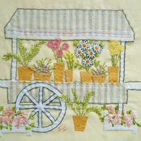 Flower stall fabric wall art