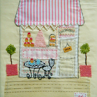 Patisserie hand stitched fabric wall art