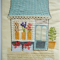 Florist shop hand stitched fabric collage