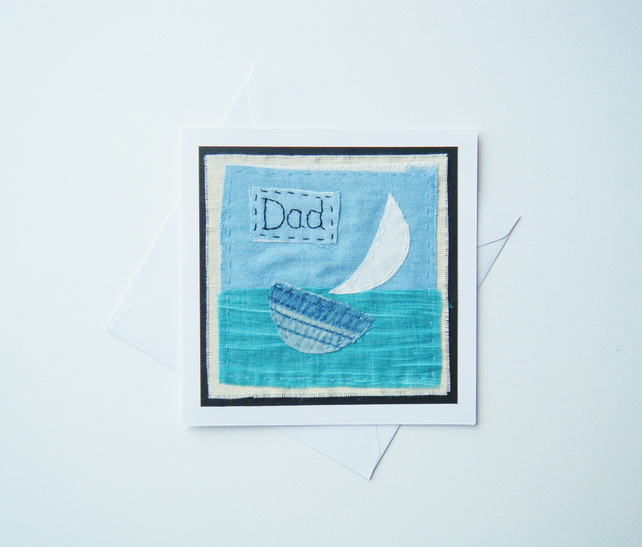 Hand stitched fabric Father's Day card