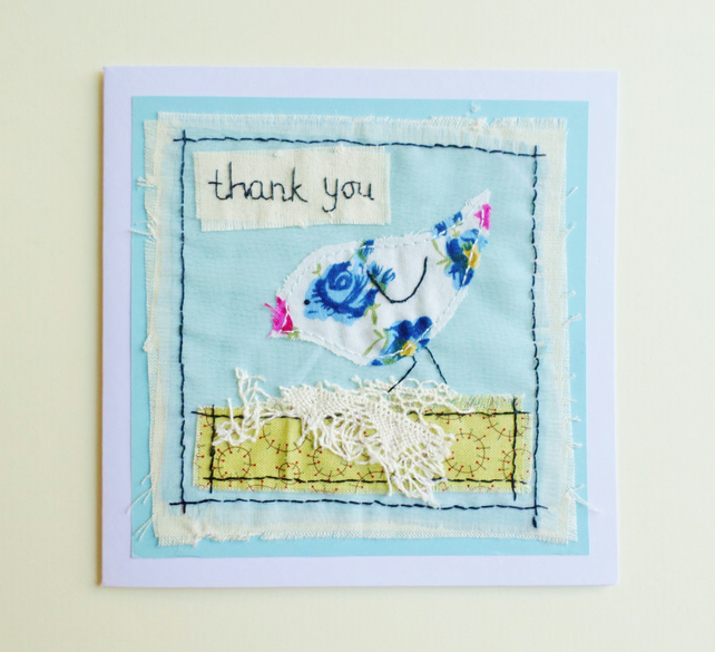 Little bird hand stitched Thank You card