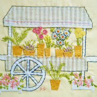 Flower stall textile collage