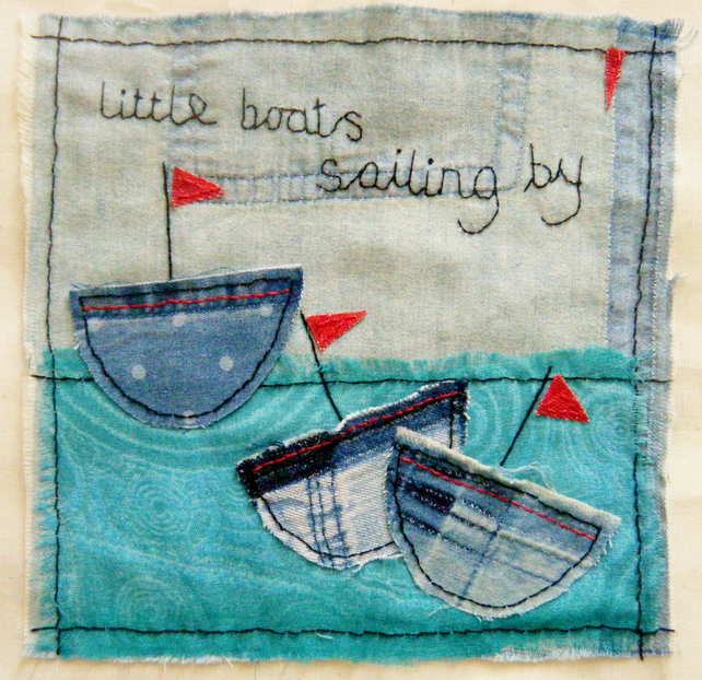 Denim boats textile art