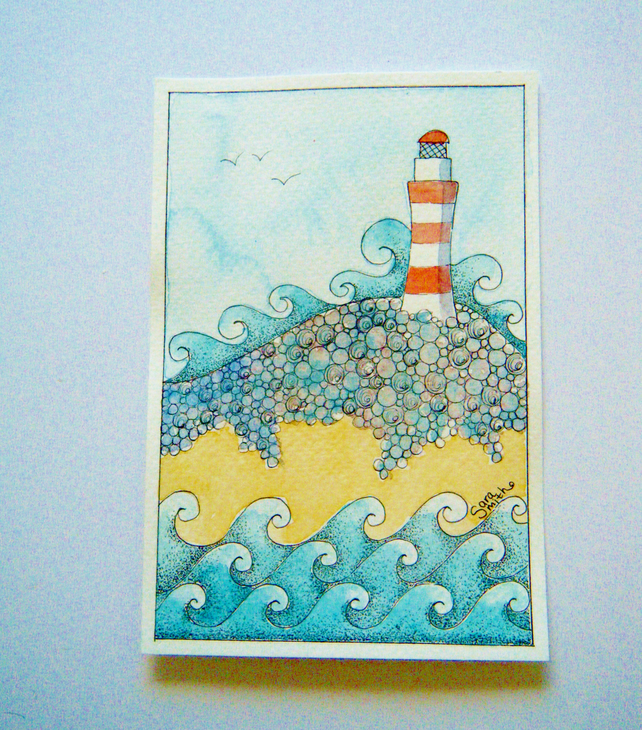 Lighthouse postcard illustration