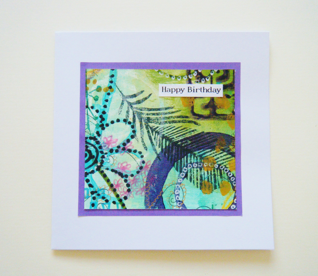 Mixed media, hand painted birthday card