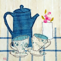Blue coffee pot original textile collage