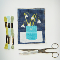 Snowdrops hand stitched textile picture