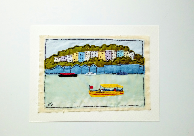 Boats and bright houses hand stitched textile wall art - coastal art gift
