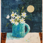 Original mixed media painting of daisies