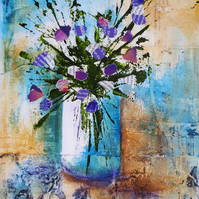Original mixed media painting of purple flowers