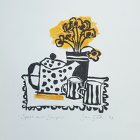 Spots and Stripes - Original hand printed linocut print with collage