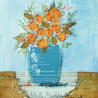 Original mixed media painting of orange flowers in a vase