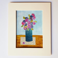 Blue vase, pink blooms original acrylic painting