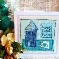 Hand stitched new home card from recycled fabrics