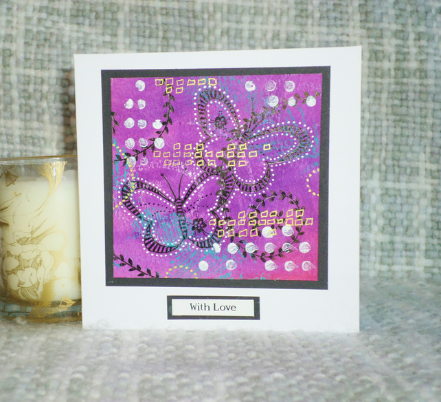 Hand painted butterfly birthday or anniversary card, with love