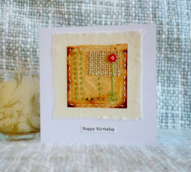Original hand embroidered teabag birthday card