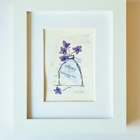 Violets original, signed monoprint with collage