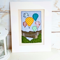 "Hand stitched and embroidered ""Balloon Fiesta"" fabric collage"
