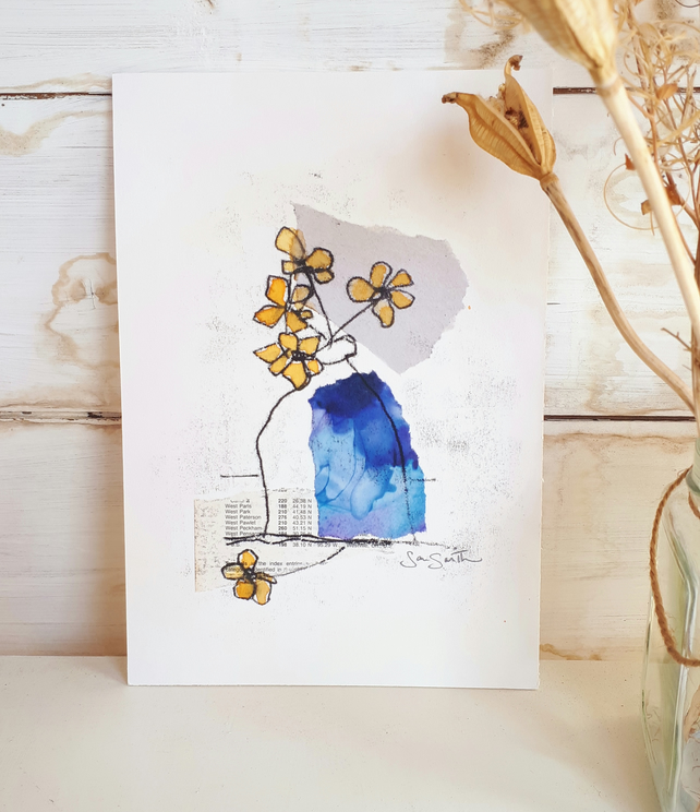 """Little Blue Vase"" monoprint and collage original painting"