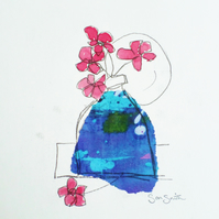"""Purple vase"" watercolour and collage monoprint painting"