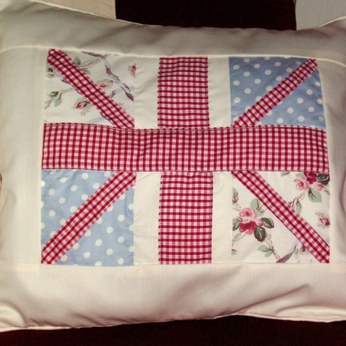 Union Jack Cushion Cover - Shabby Chic Patchwork - Folksy