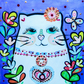 Pretty Kitty original painting folk art style by artist Claire Barone, cats,art