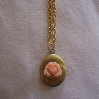 Peach Rose Locket Necklace