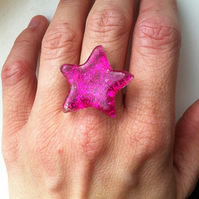 Pink Sparkley Star Ring
