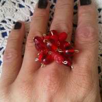 Red Bead Cluster Ring