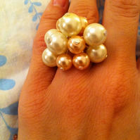*SALE* Peaches & Cream Pearl Cluster Ring