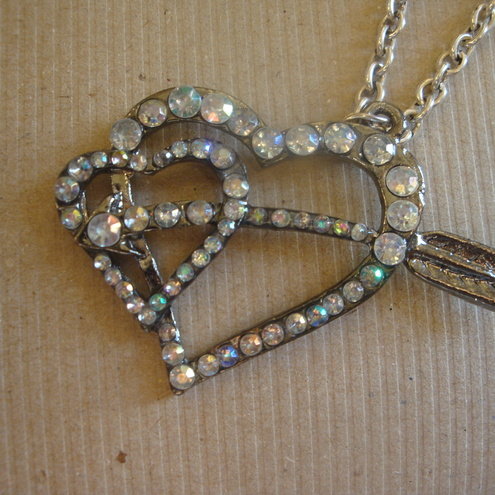 Rhinestone Heart & Arrow Necklace