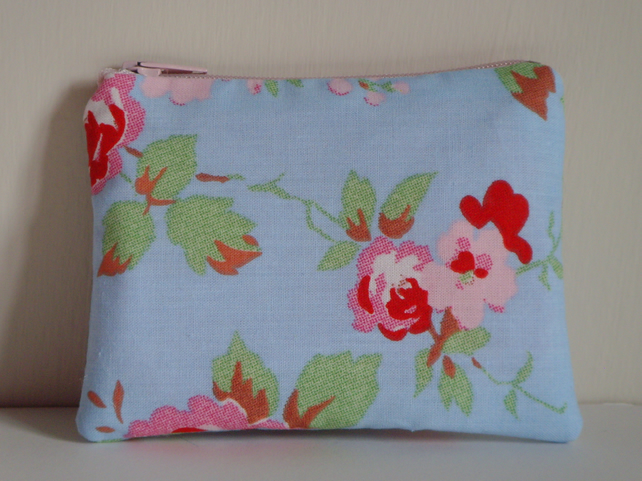 Coin Purse - Padded - Rose Floral Blue