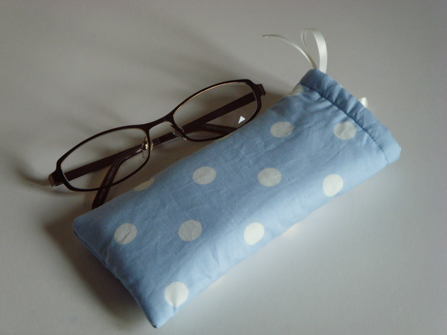 Glasses Case -Drawstring Pouch -Jewellery Pouch -Make-up Pouch - Pale Blue Spots