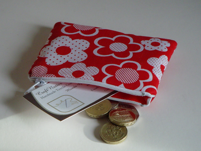 Coin Purse - Red Flowers