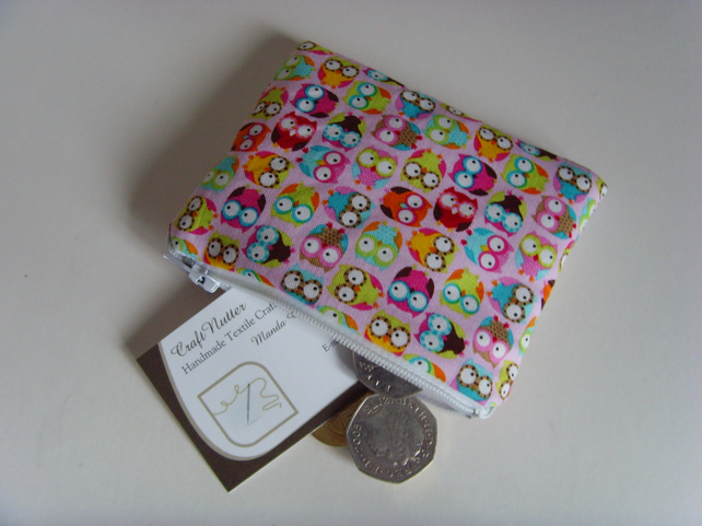 Coin Purse - Pink Owls