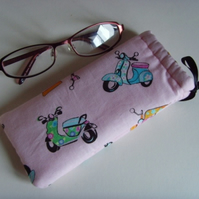 Glasses Case - Drawstring Jewellery Pouch - Pink Scooters