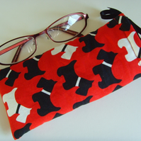 Glasses Case - Drawstring Jewellery Pouch - Scotty Dogs Red