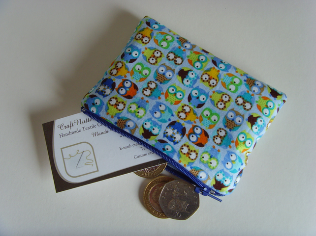 Coin Purse - Blue Owls
