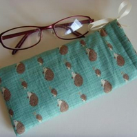 Glasses Case - Drawstring Pouch - Hedgehogs