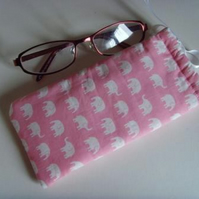 Glasses Case - Drawstring Jewellery Pouch - Pink Elephants