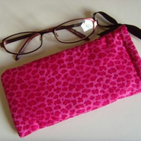 Glasses Case Drawstring Pouch - Pink Leopard