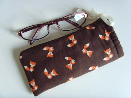 Glasses Case Drawstring Pouch - Foxes