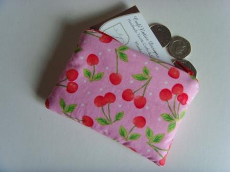 Padded Coin Purse - Pink Cherries