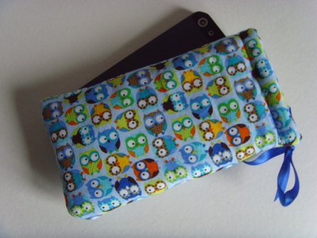 Blue Owls - iPhone 5 Samsung S mini Ipod Case Drawstring Pouch