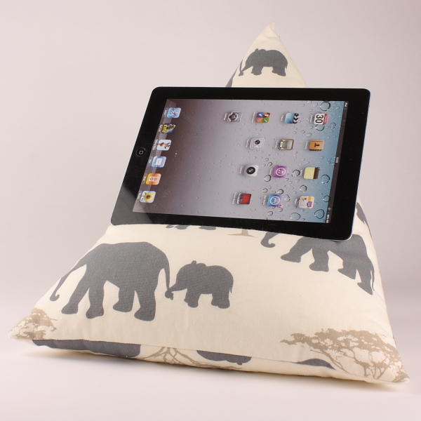 Grey Elephants - Tablet - iPad - e-reader - Book - Beanbag - Cushion - Pillow
