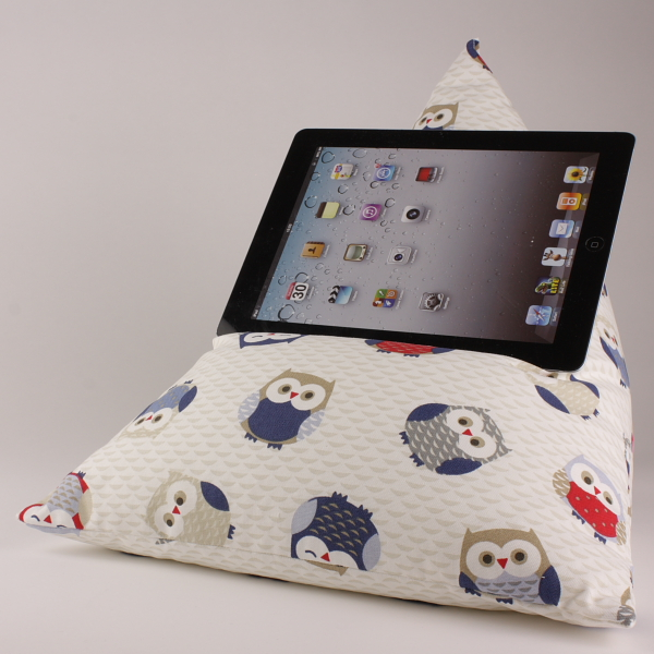 Owls Blue - Tablet - iPad - e-reader - Book - Beanbag - Cushion - Pillow