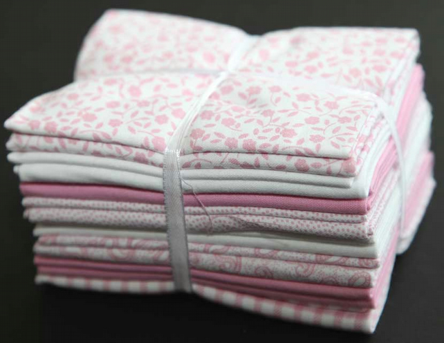 Fat quarter bundle (8) 'Pink and White' from the Craft Cotton Co