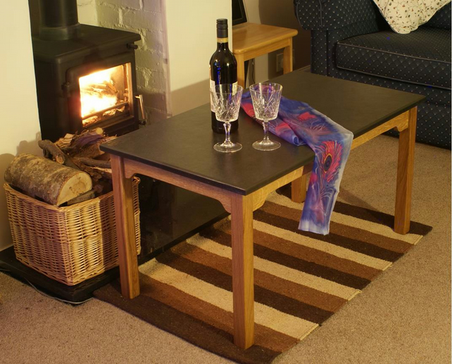 Handmade Oak and Slate Coffee Table for Home, Conservatory or Garden use.