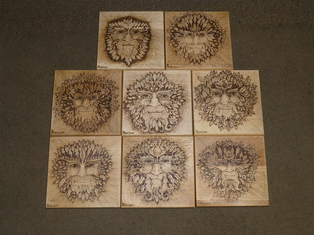 The Green Man hand pyrographed coaster.